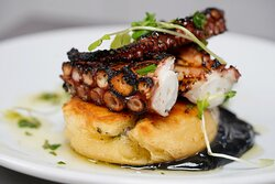 """POULPE  Grilled Octopus, lime & ink, warm """"petit pain"""" & sea weed"""