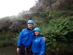 My husband and I at the end of the scrambling and canyoning trip.