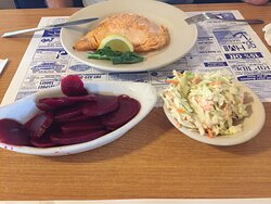 Atlantic salmon with pickled beets and coleslaw