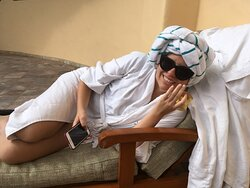 Messing around with my daughters at our annual pilgrimage to our favorite spa on Kaua'i