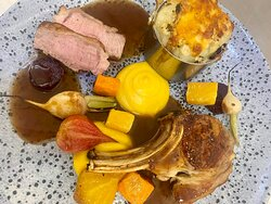 Lamb 3 ways, cutlet, sirloin & a mini lamb shank Shepards pie, beetroot, baby vegetables and a redcurrant jus