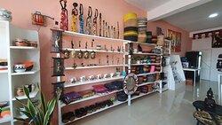 Woodcarvings, baskets, wall hangings, etc.