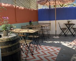 Our little beer garden seats 22 people, it is shaded from the sun so is a lovely cool spot to chill