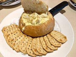 Jumbo Lump Crab Dip in a bread bowl with crackers - $18.95