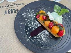 Dessert : tartelette melon, framboise, basilic, un régal' 😍