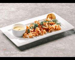 Fried crispy baby calamari with spicy tempura flour served with The Orangery homemade aioli mayonnaise