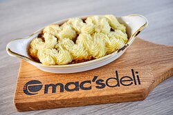 Delicious Shepherd's Pie piped with creamed mash. A great option for sit-in or to take home.
