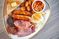 Full Irish breakfast at Mac's Deli. Comes with toast and tea and coffee.