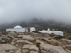 the monastery with fog