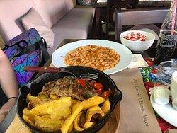 Beans, pork, potato chips, summer salad