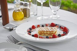 Mille-feuille - Layers of Crisp Filo Pastry, Fresh Berries, Creme Brulee Custard, Vanilla and Raspberry Sauce