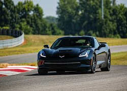 Taking my 2019 Stingray through a turn on the track.