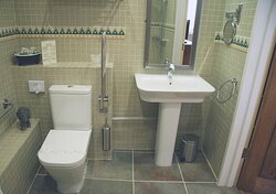 Lavender walk in shower room suitable for wheelchair users
