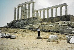 """The awesome ruins of the """"Temple of Poseidon"""" in Cape Sounion, near Athens (Greece)."""
