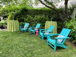 Backyard lounging area.