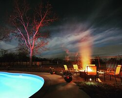 Fire pit at the saltwater pool