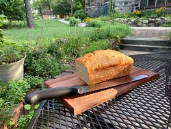 Freshly baked bread on the dining patio!