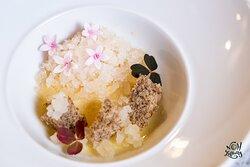 Bergamot Custard   Honey Gel   Buckwheat Cake   White Tea Granita