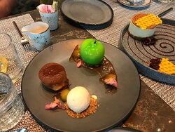 The Apple dessert. What looks like a green apple is not an apple!