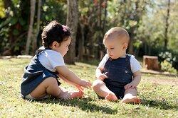 Jardineira Malha Jeans para Meninos e Meninas
