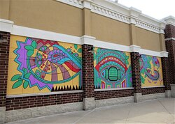 Abstract Public Art: a new month -- and  a new mural at the mall! Artist Nattali Jo Bell.  August 2021