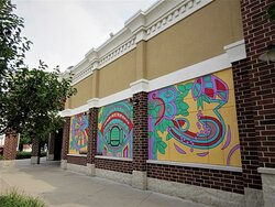 Abstract Public Art: mural on the wall , by Nattali Jo Bell. August 2021