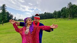 Photo-shoot at Baisaran, a hilltop green meadow with alluring scenery famous as mini Switzerland in Kashmir.