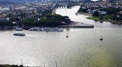 Blick von der Festung nach Deutsches Eck, Koblenz