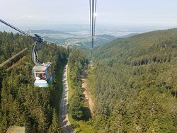 """In my gondola looking back at the """"base station"""" and out at the surrounding German countryside.  Sheer exhilaration to over 4,200 feet!"""