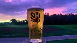 Enjoying a beer at sunset in the Lovedale Bistro beer garden