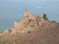 Boaters enjoy viewing the bluffs from Lake Ontario.