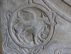 Mechelen, Onze-Lieve-Vrouw-over-de-Dijlekerk: The Ox of  Saint Luke on a Ledger Stone