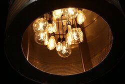 Custom industrial lighting was created for the main dining.