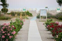 Spiaggia riservata accessibile frontalmente all'Hotel.