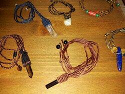 Handmade makrame necklaces with crystal sticks