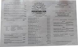 Long's Peak drink menu