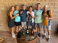 Sampling the wines at a local winery along the way