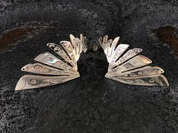 """""""Feathers"""" Silver ear ornaments with black platinum by P.A.Verouki, available at t.k place art gallery.  https://tkplaceartgallery.gr"""