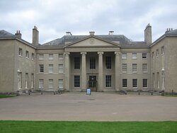 The rear of the House - but the main entrance - Classical design with Ionic columns supporting a pediment.