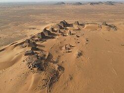 Pyramids of Meroe by David Murphy drone, Sudan Tour