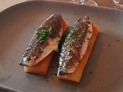 Course #1: Sardines on fried bread with a tomato compote. One of our top two courses, not sure if it was first or second!