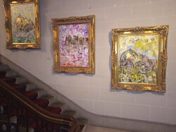 Examples of resident artist works on main stairwell.