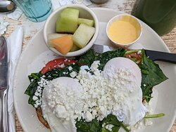 Here's the Eggs Florentine special  The cheese is goat cheese.  I chose to have fruit rather than homefries.