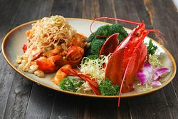 Baked Boston Lobster with Chinese Onion and Rice Cake