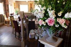 Wedding floral decor in the pub
