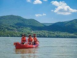 Canoeing in the scenic Danube bend.