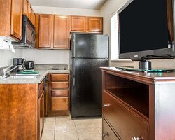 Spacious suite with kitchen area