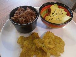 plantain, salad, coconut rice