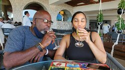 Sipping champagne after becoming Xcaret members. Can't wait to go back.