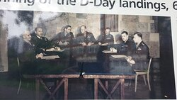 This is the center photo of the board - that's Eisenhower next to General Montgomery in the middle and many of the high command of WW2. This room was in the old school but it is not known if any of these people met or dined in the hotel. - the old headmaster's house - they probably did!